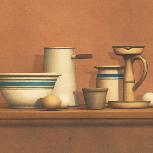 Detalle Obra gráfica de William Bailey, Still Life with Eggs, Candlestick and Bowl en venta